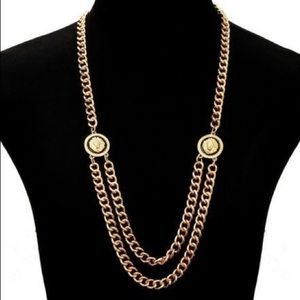 Jewelry - Lion medallion double chain necklace